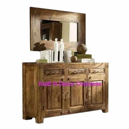 Kraftndecor Contemporary Wooden Sideboard Cabinet In Brown Colour