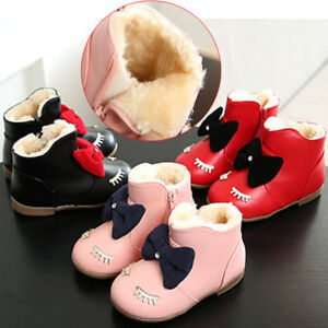 4ba8f4c25664c Kids Baby Girl Snow Boots Winter Warm Fur Lined Shoes Leather Soft ...