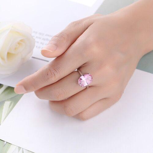 3 ct AAA Rose Ovale Cut Zircone cubique Bande De Fiançailles Femmes 925 Argent Bague de mariage Sz 6-10