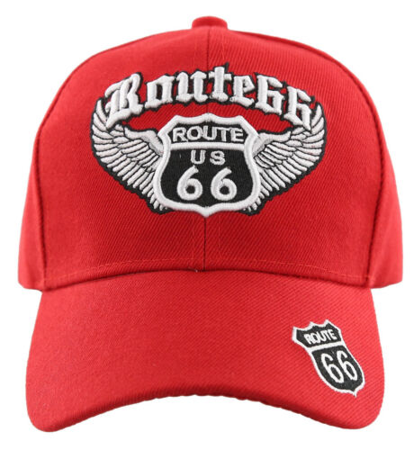 US ROUTE 66 BIG WING BALL CAP HAT RED NEW