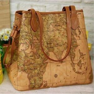 Details about Women's Leather Handbag Vintage Satchel World Map Printed on wwii map bag, travel bag, german map bag, korean map bag, military map bag, poster bag, russian map bag, italian map bag, vintage compass, world map bag, leather map bag,