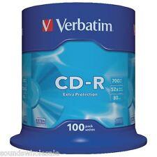 100 X 80 MIN 700mb 52X VERBATIM EXTRA PROTECTION CD-R S - NEW - FREE 24 H