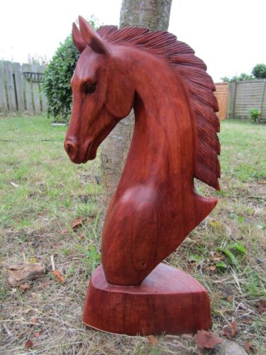 FairTrade Hand Made Carved Wooden Equine Horse Head Bust Sculpture Ornament 40cm