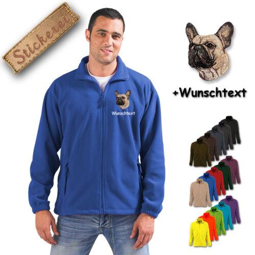 Fleece Jacke bestickt Stickerei Hund Französische Bulldogge M1 + Wunschtext