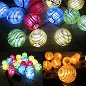 5m solar 10er 20er led lichterkette lampionkette au en lampions warmwei bunt ebay. Black Bedroom Furniture Sets. Home Design Ideas