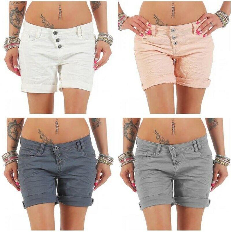 Damen Baumwolle Sommer Hot Pants Kurz Bermudashorts Strecken Taste S-5XL Fashion