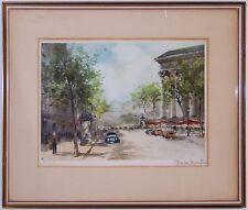 Charles Blondin Paris Etching Print Blvd de Madeleine - Mid Century Gesso Frame