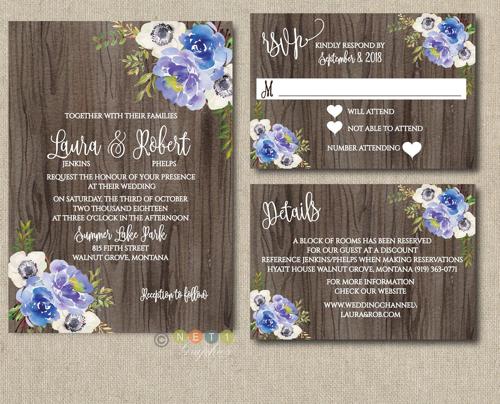 Personnalisé Bleu Motif Floral Pivoines Mariage Invitations rustique bois suite