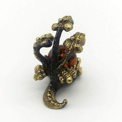 Frog toad miniature Bronze Brass Figurine Statuette Russian Baltic Amber #50