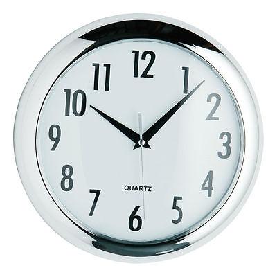 Chrome Round Finish Home Office Living Room Deco Quartz Wall Time Clock