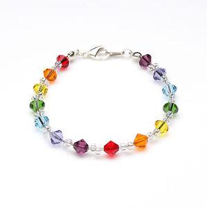 Sterling Silver Chakra Colour Crystal Twist Bracelet using Swarovski Elements