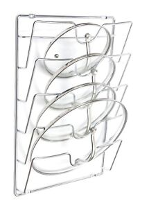 Cupboard-Cabinet-Saucepans-Pan-Lids-Storage-Rack-Holder-5-Lids-Chrome