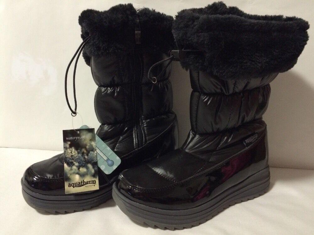 AQUATHERM By SANTANA Womens Size 9 Black Patent Waterproof Winter Boots Canada