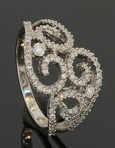 9CT-White-Gold-Multi-Diamond-Open-Swirl-Patterned-Ring-0-50ct-039-N-039-80-19-552