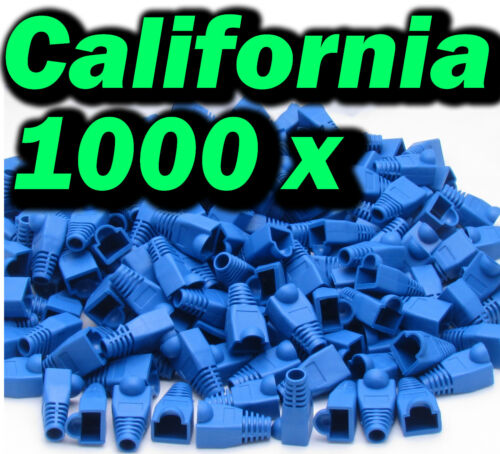 1000 X Blue RJ45 Connector Modular End Cap Boot Head Cat5 6 Plug Ethernet Cable