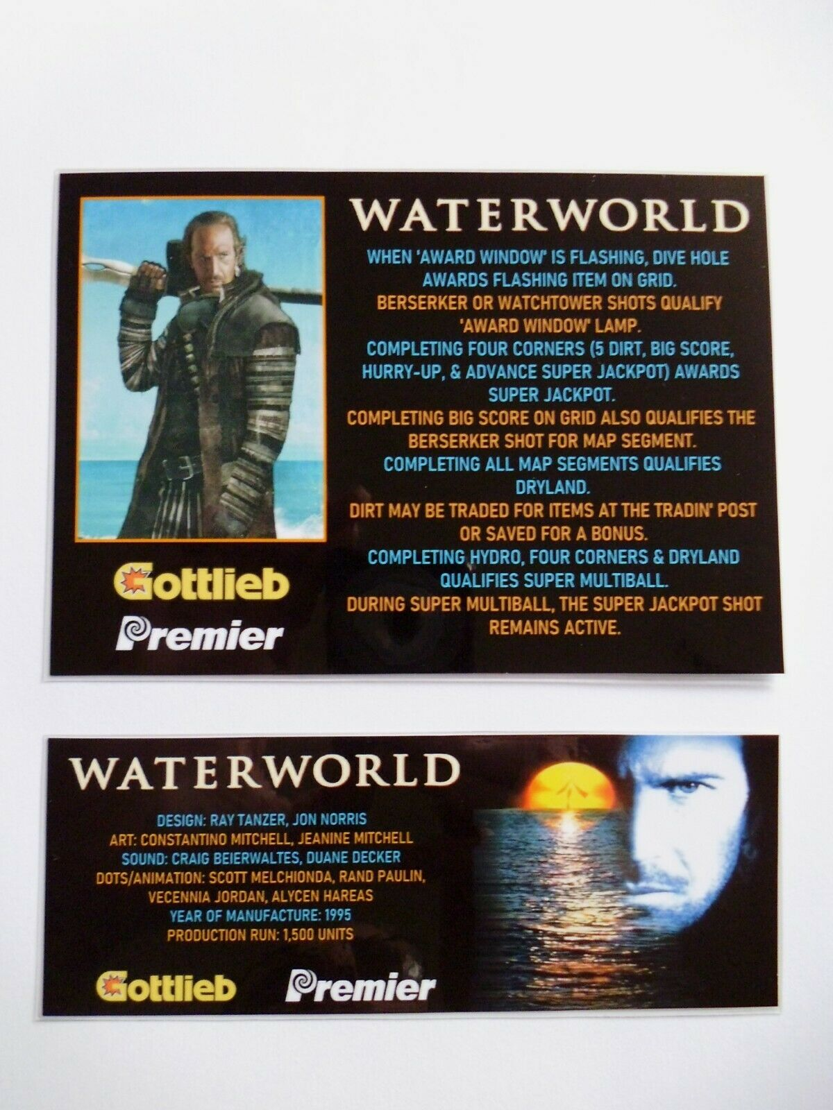 * 'WATERWORLD' Gottlieb 1995 Custom Instruction/Apron Cards * (New)