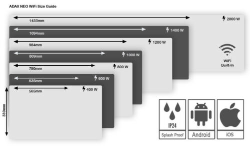 Wall Panel Heater ADAX CLEA WIFI 600W Home Automation Glass Electric Radiator