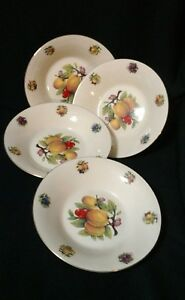 Set-of-4-Formalities-by-Baum-Brothers-Bros-8-034-Soup-Cereal-Bowls-Summer-Fruit