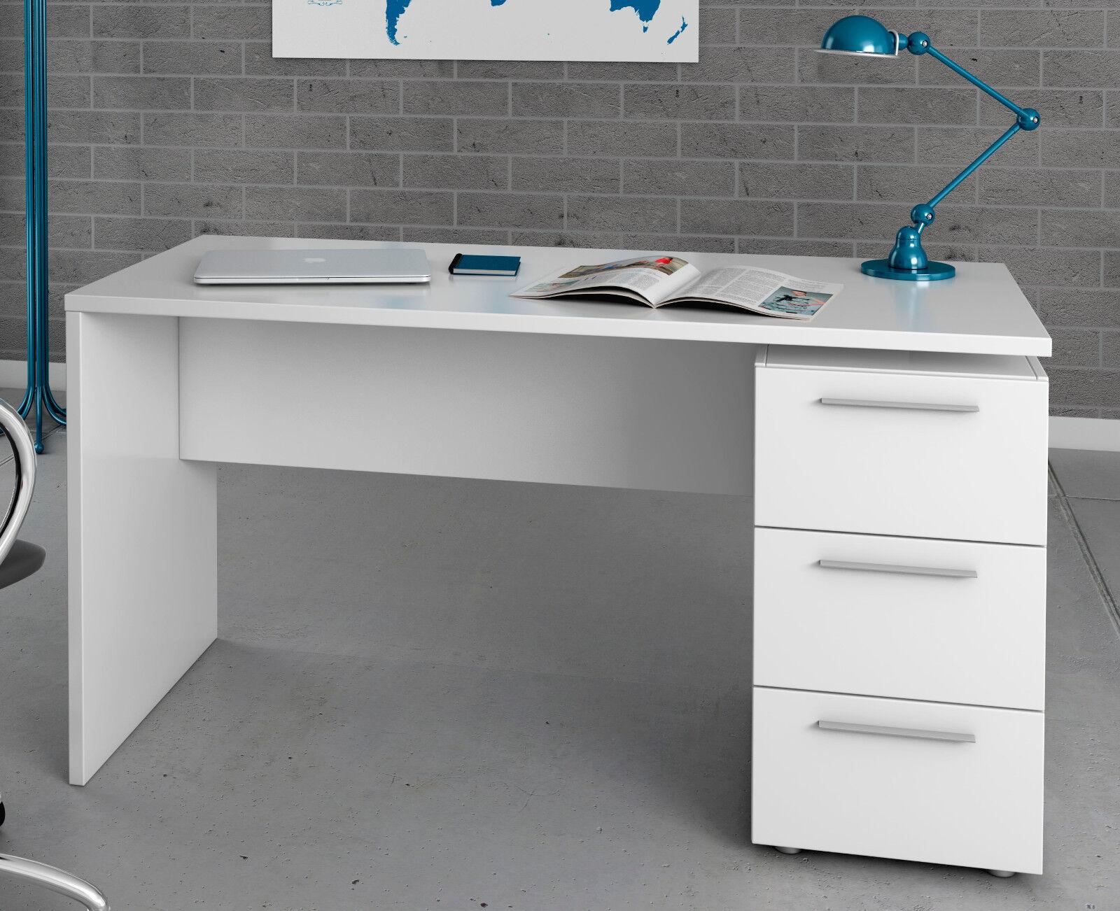 Escritorio O Mesa De Estudio Juvenil Color Blanco Con 3 Cajones