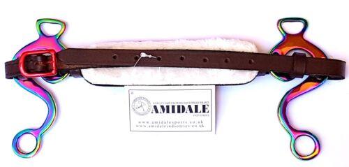 Amidale Arc En Ciel Hackamore sans Mors Cheval Bit Cuir Rembourré Neuf avec