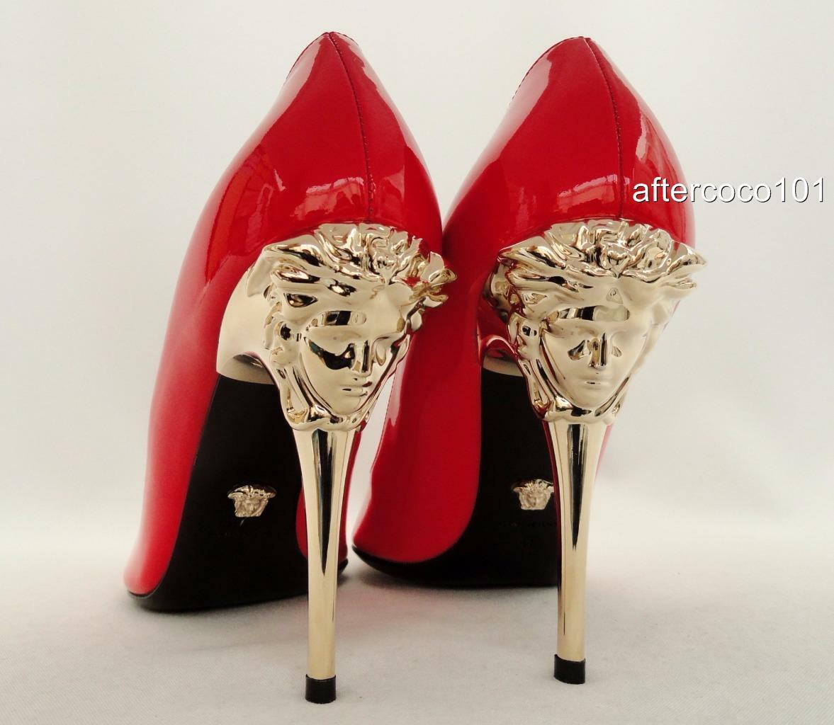 Versace Red leather Medusa on Heels UK8 EU41 Perfect Gift New