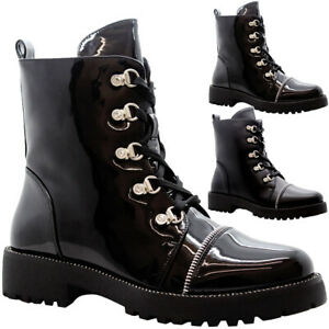 best choice hot new products united states Details about Ladies Ankle Lace Up Biker Boots Womens Chunky Block Heels  Punk Hiker Shoes Size