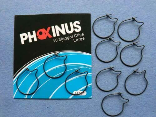 20 Phoxinus Large Maggot Clips Matt Black//Anti Glare Carp Fishing  Hair Rigs