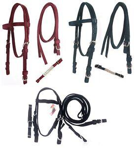 D-A-Brand-Closeout-Poly-Western-Bridles-w-Split-Reins-Horse-Tack