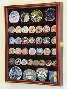 56 Challenge Coin Display Case Cabinet - Fully Adjustable Shelves - Larger Coins