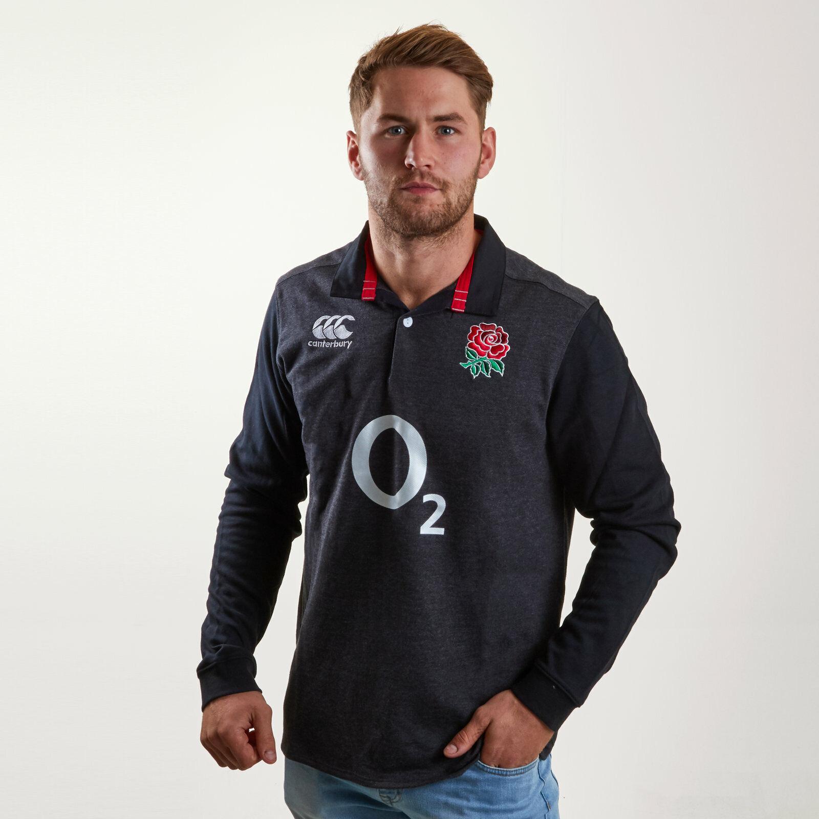 Canterbury Uomo Inghilterra 2018 19 alternativo Classica Camicia a Maniche Lunghe Rugby Nero