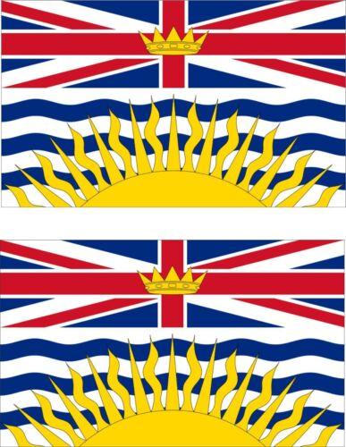 Set of 2x sticker vinyl car bumper decal outdoor caanda flag  British Columbia