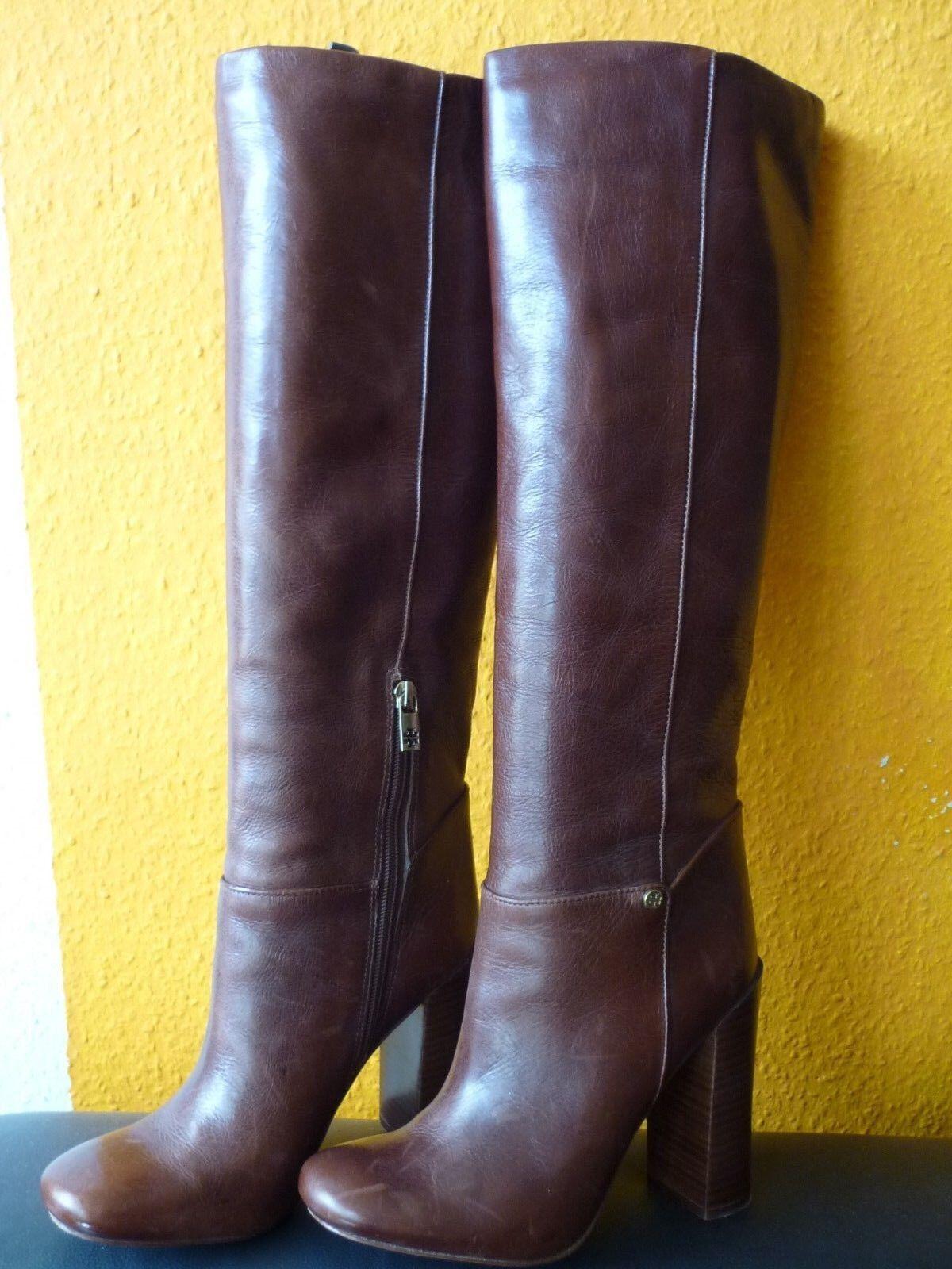 Tory Burch Vintage Schaft Stiefel Stiefel hoher Blockabsatz hochwertiges Leder