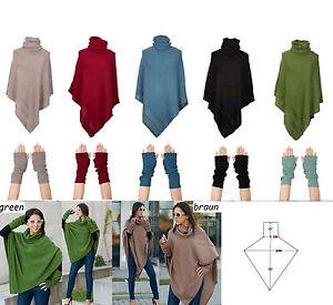 Mujer-Poncho-mitones-guantes-mujer-exterior-CAPA-NEGRO-talla-unica-Acrilico