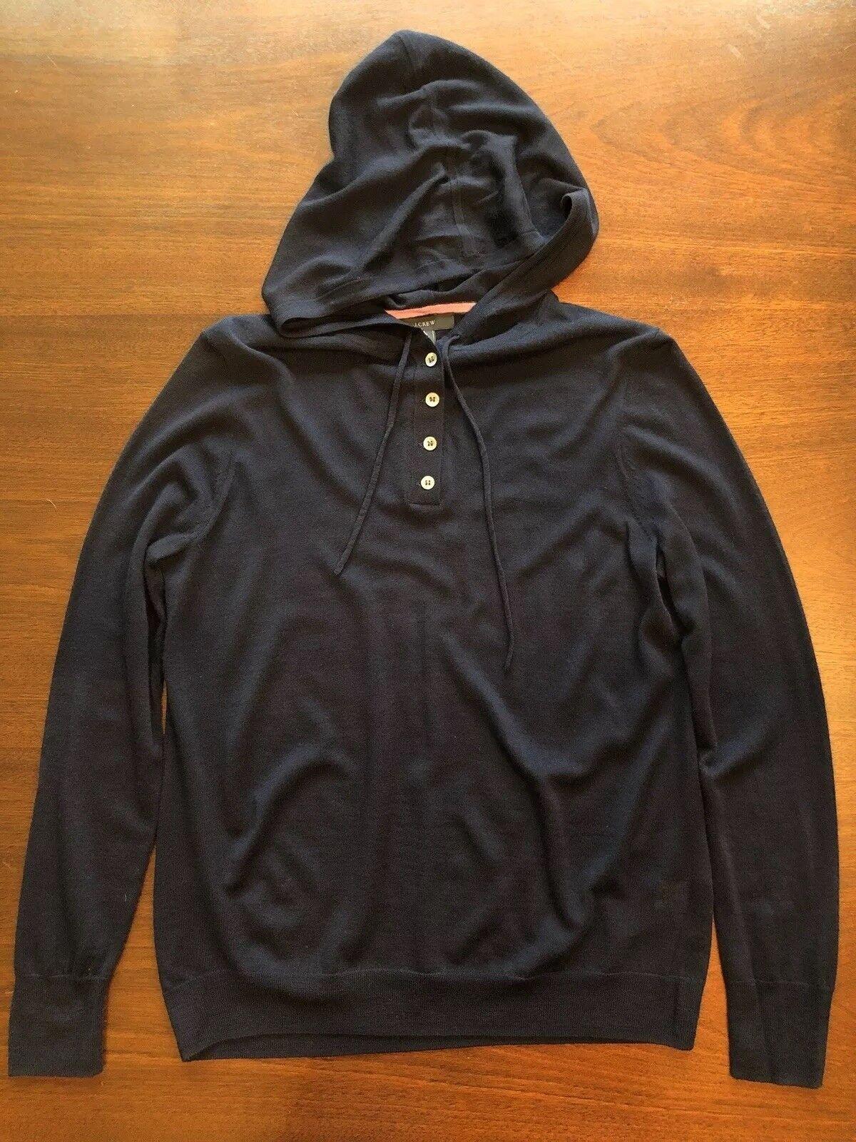 NWT NWT NWT Jcrew Lightweight merino wool henley hoodie Sweater Long Sleeve Navy Sz S 3c19ff