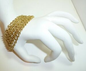 Gorgeous-VINTAGE-1970-039-s-Gold-Tone-1-1-2-Inch-Wide-Multi-Soldered-Chain-Bracelet