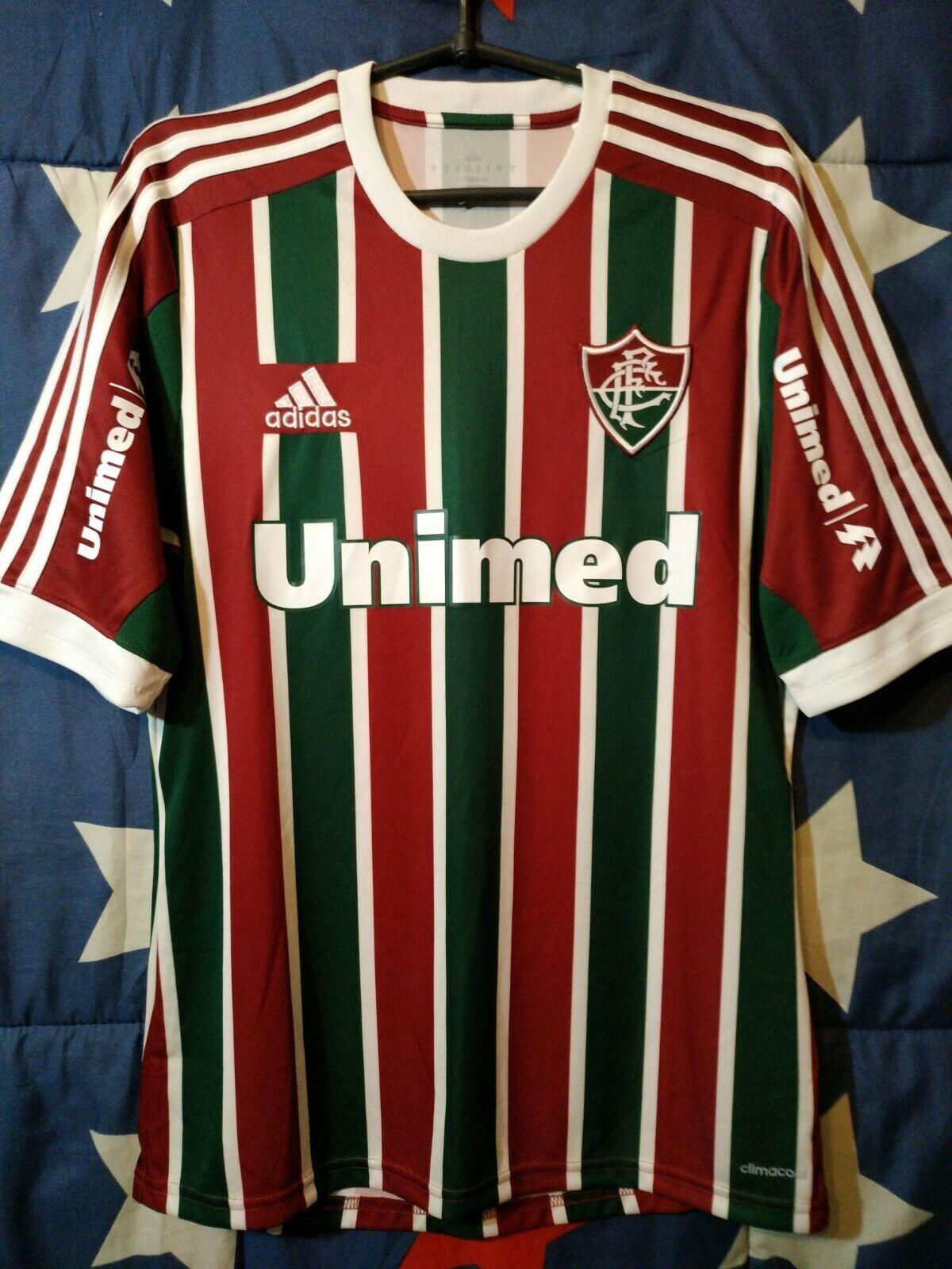 Taglia S FLUMINENSE 20132014 Calcio Casa Maglietta Jersey Adidas