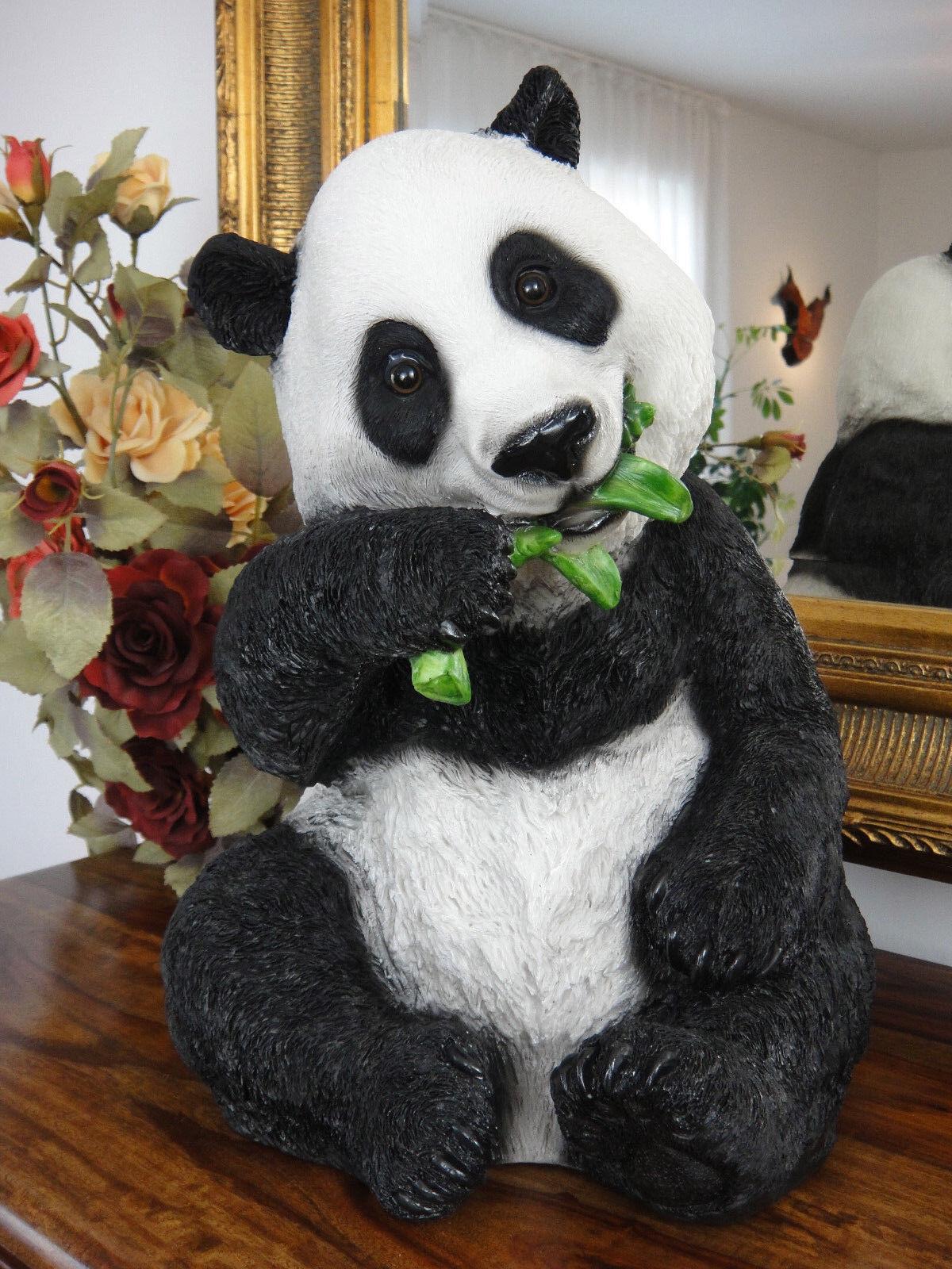 Figura decorativa panda oso 35 cm jardín personaje mano pintado escultura de jardín estatua asia XL