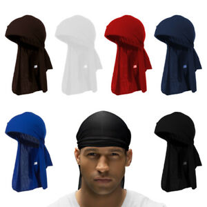 Men-039-s-Durag-Bandana-Breathable-Close-Fit-Tie-Down-Sport-Du-Rag-Head-Scarf-Wrap