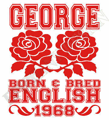 English Born /& Bred T-Shirt Personalised Name And Year Of Birth England Gift