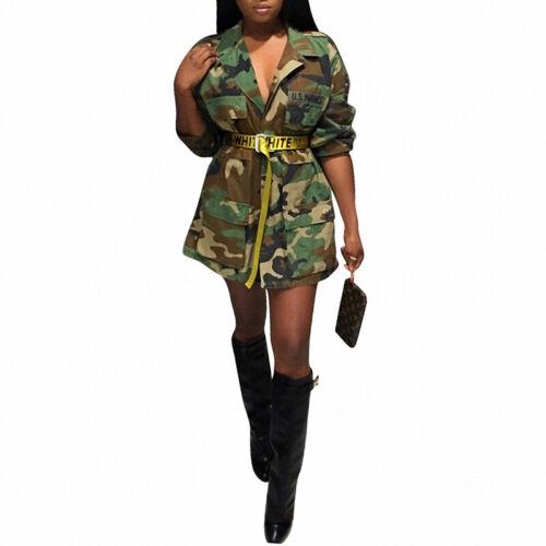 Coat Jacket Outwear Plus Size Women Mini Dress Military Army Green Camouflage