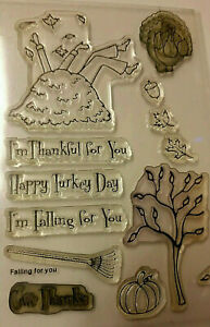 Bo Bunny Clear Stamps Fall Autumn Leaf Falling Leaves