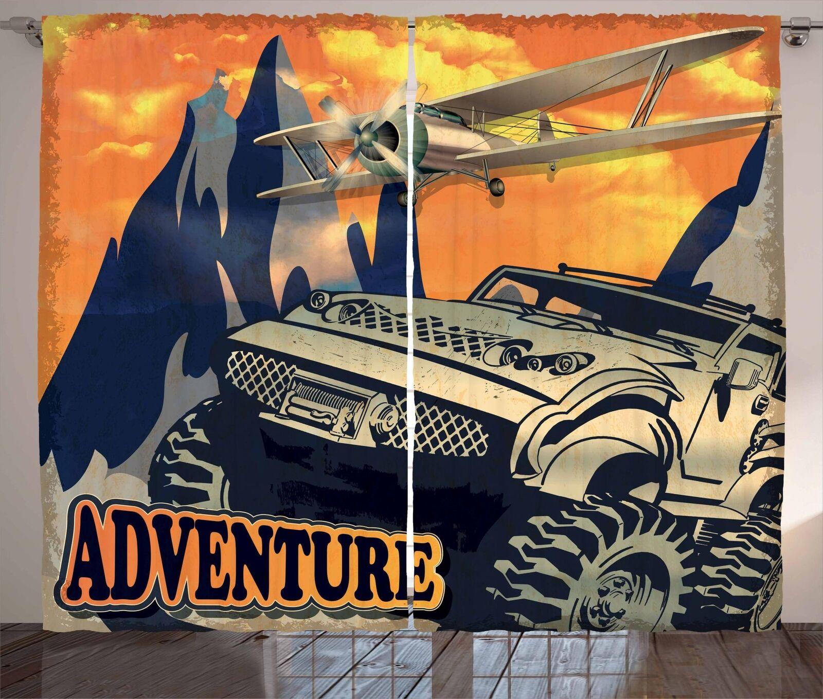 Adventure Adventure Adventure Saying Curtains 2 Panel Set for Decor 5 Größes Available Window Drapes 6f788d