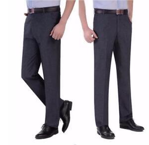 Hombres Pantalones Rectos De Seda Empresarial Casual Pantalones Sueltos Largo Comodos Pantalones De Vestir Ebay