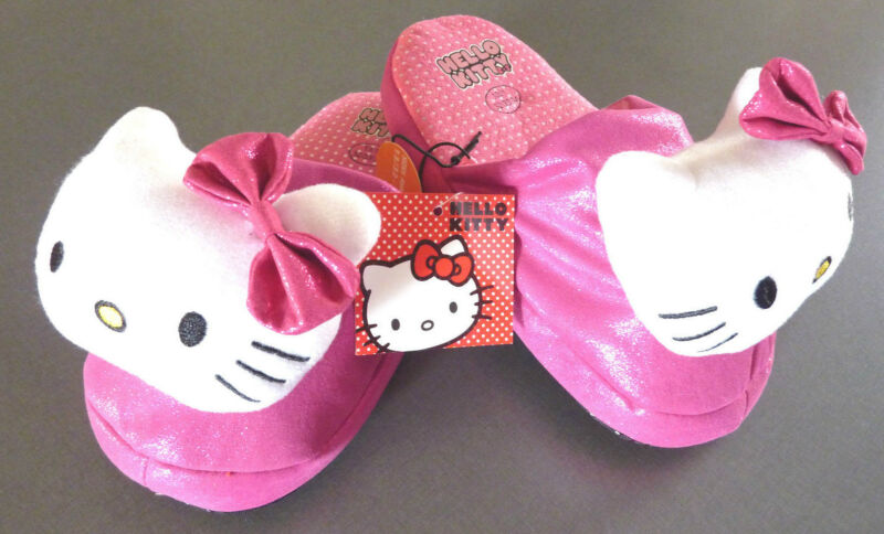 Hello Kitty Damen Plüsch Hausschuhe Slipper Pantoffeln Pink Schleife 32-34 35-36