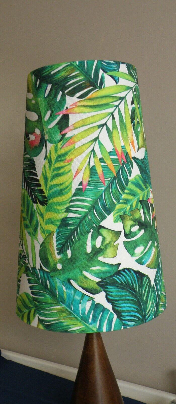 acquista online oggi Fatto a a a Mano Tropicale Palma botanico verde tessuto Tall Cono Paralume-Alto 42cm  varie dimensioni