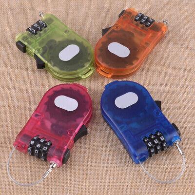 Retractable 3-Digit Combination Cable Code Lock Bike Luggage Travel Padlock