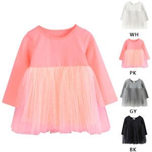 Baby-Maedchen-Kleid-Langarm-Tutu-Kleid-Tuell-Flauschige-Prinzessin-Kleid-Tops