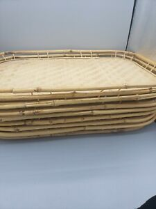 Lot de 6 VINTAGE bambou tressé rotin osier Tiki Bar Serving Plateaux Boho decor