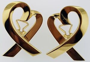 704a5510f TIFFANY & CO.~Paloma Picasso~LOVING HEART EARRINGS~Solid 18Kt. Gold ...