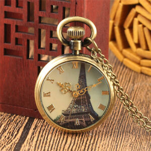 Vintage-Copper-Iron-Tower-Men-Women-039-s-Quartz-Pocket-Watch-Necklace-Chain-Gift